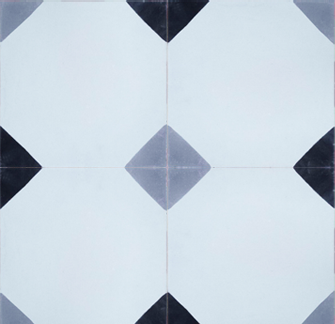 Diamond Black and Grey Encaustic Cement Tile